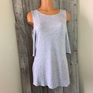 Zenana Outfitters Gray Cold Shoulder Shirt Blouse